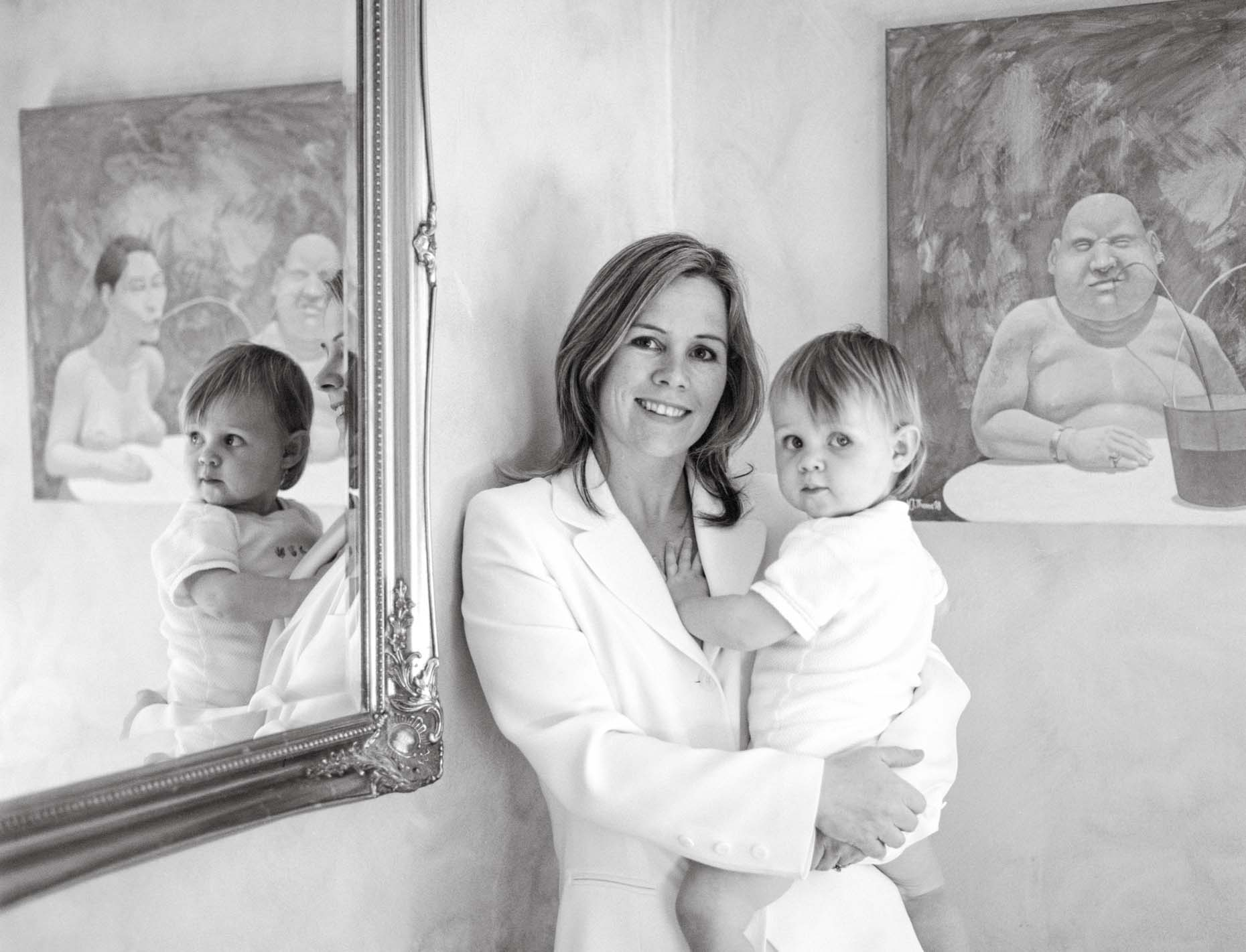 JACKIE AND ELENA Black & White, Daylight, femail, Girls, House, lifestlye, Location, Mirror, Mother and Baby, Portrait Photographer, Reflection, Room, White Suit, Woman