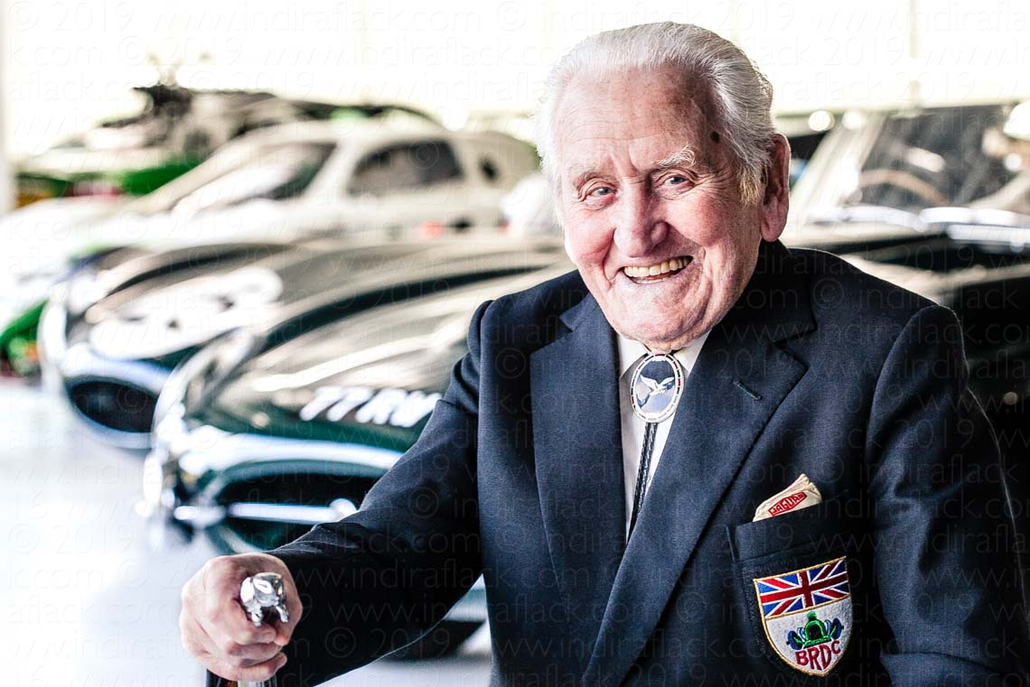 Norman Dewis portrait by Indira Flack for the Great British Racing Drivers Exhibition