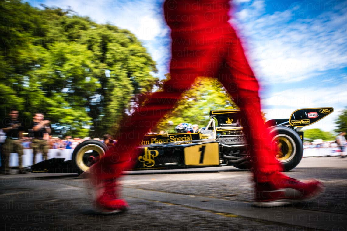 Through Ferrari legs at Goodwood Festival of Speed captured by Indira Flack Photography