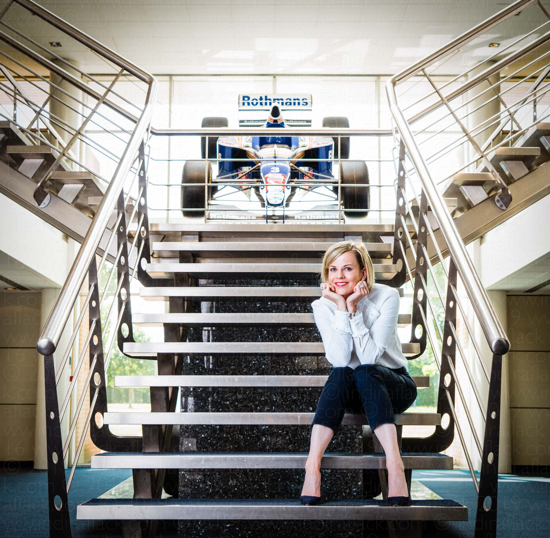 Susie Wolff portrait by Indira Flack for the Great British Racing Drivers Exhibition