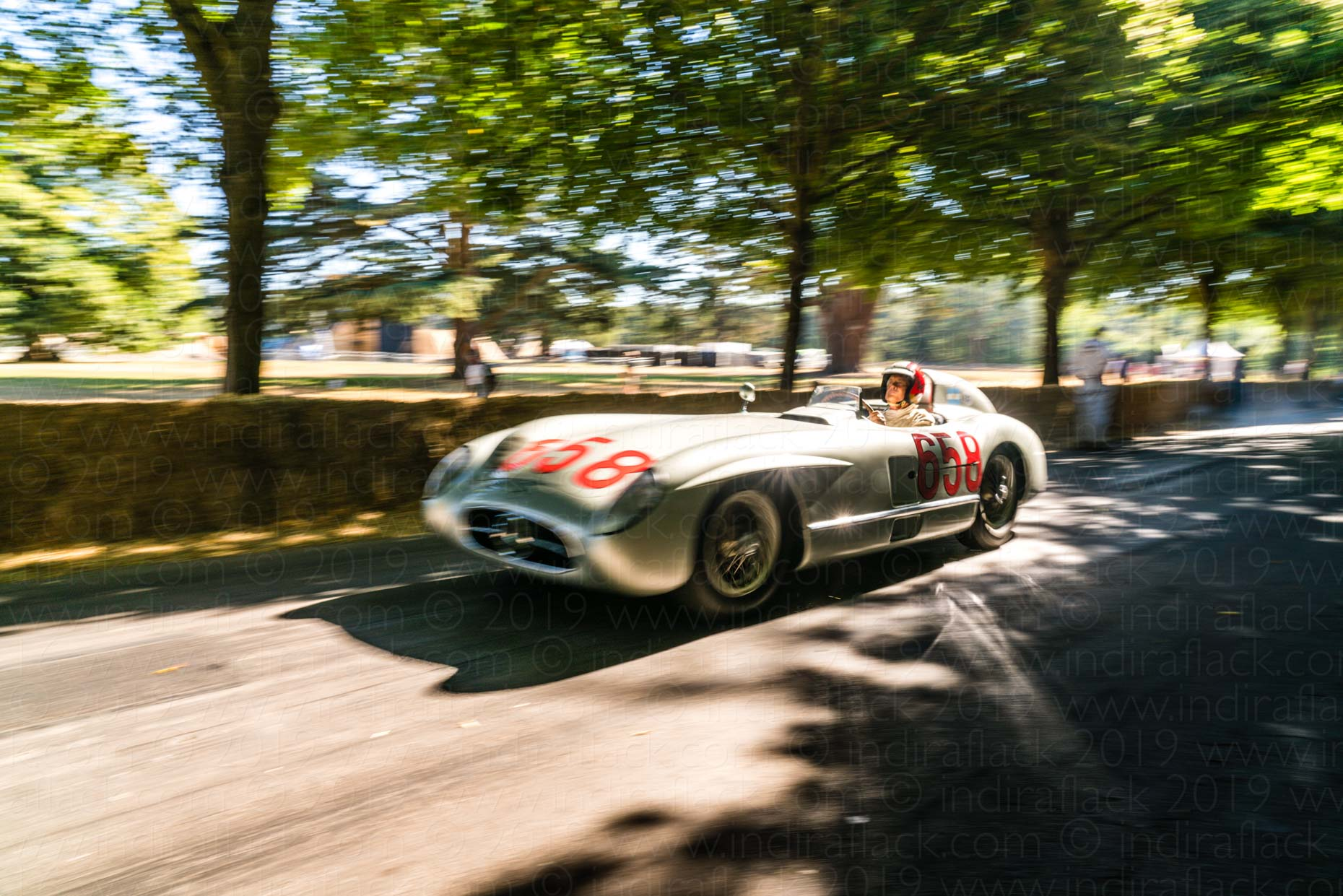 Mercedes-Benz 300SLR driven by Giacomo Agostini at Goodwood Festival of Speed captured by Indira Flack Photography