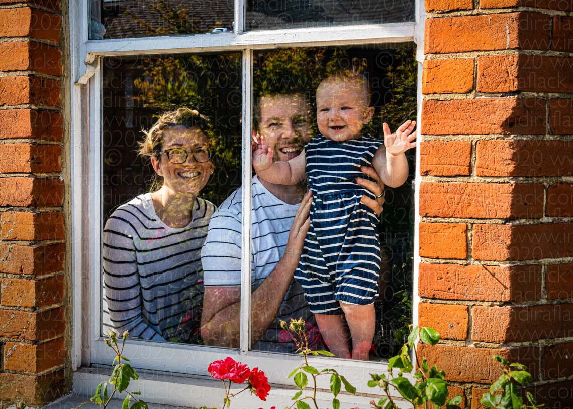 Andi, Polly & Emilia neighbours in lockdown portrait taken by Indira Flack portrait photographer
