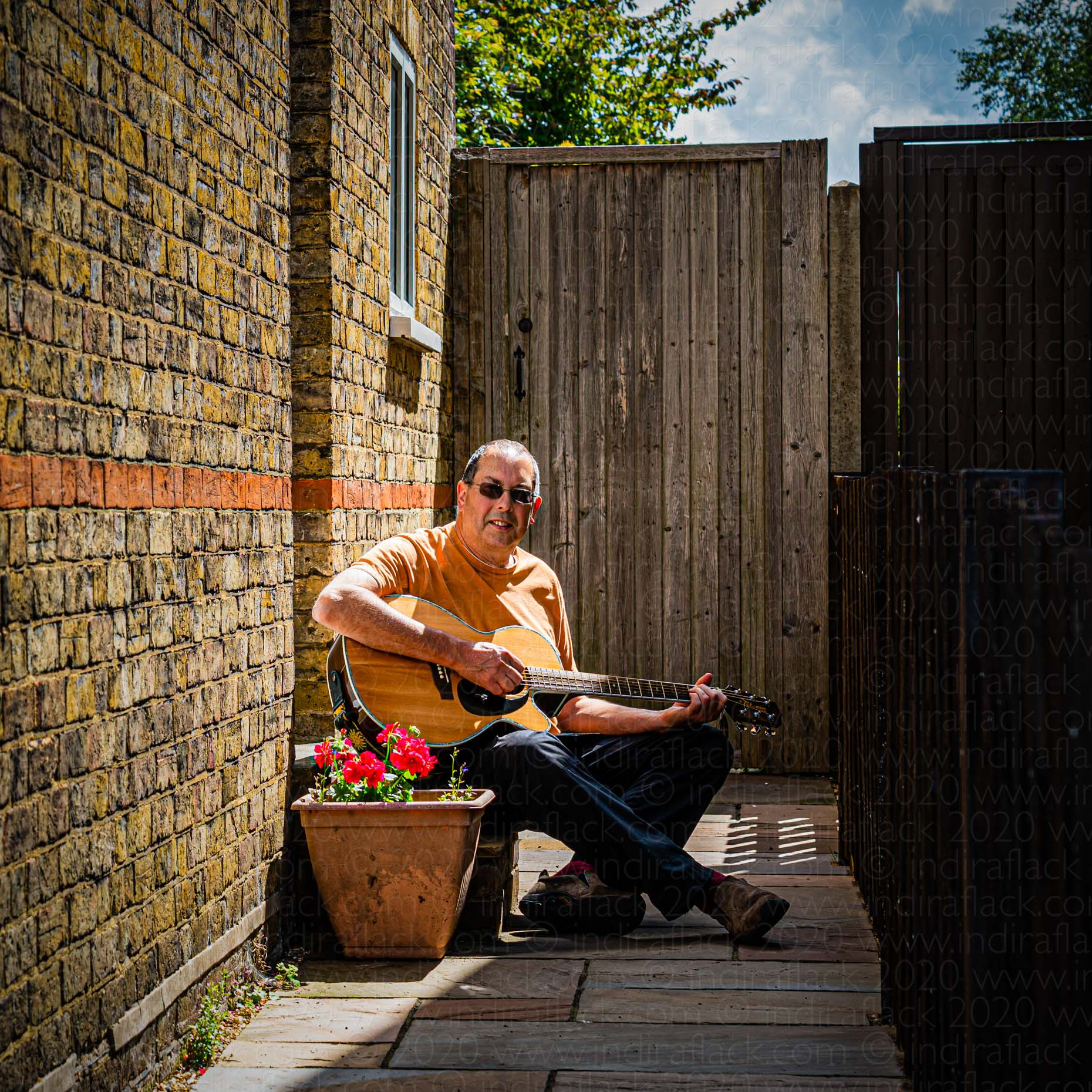 John musician neighbours in lockdown portrait taken by Indira Flack portrait photographer