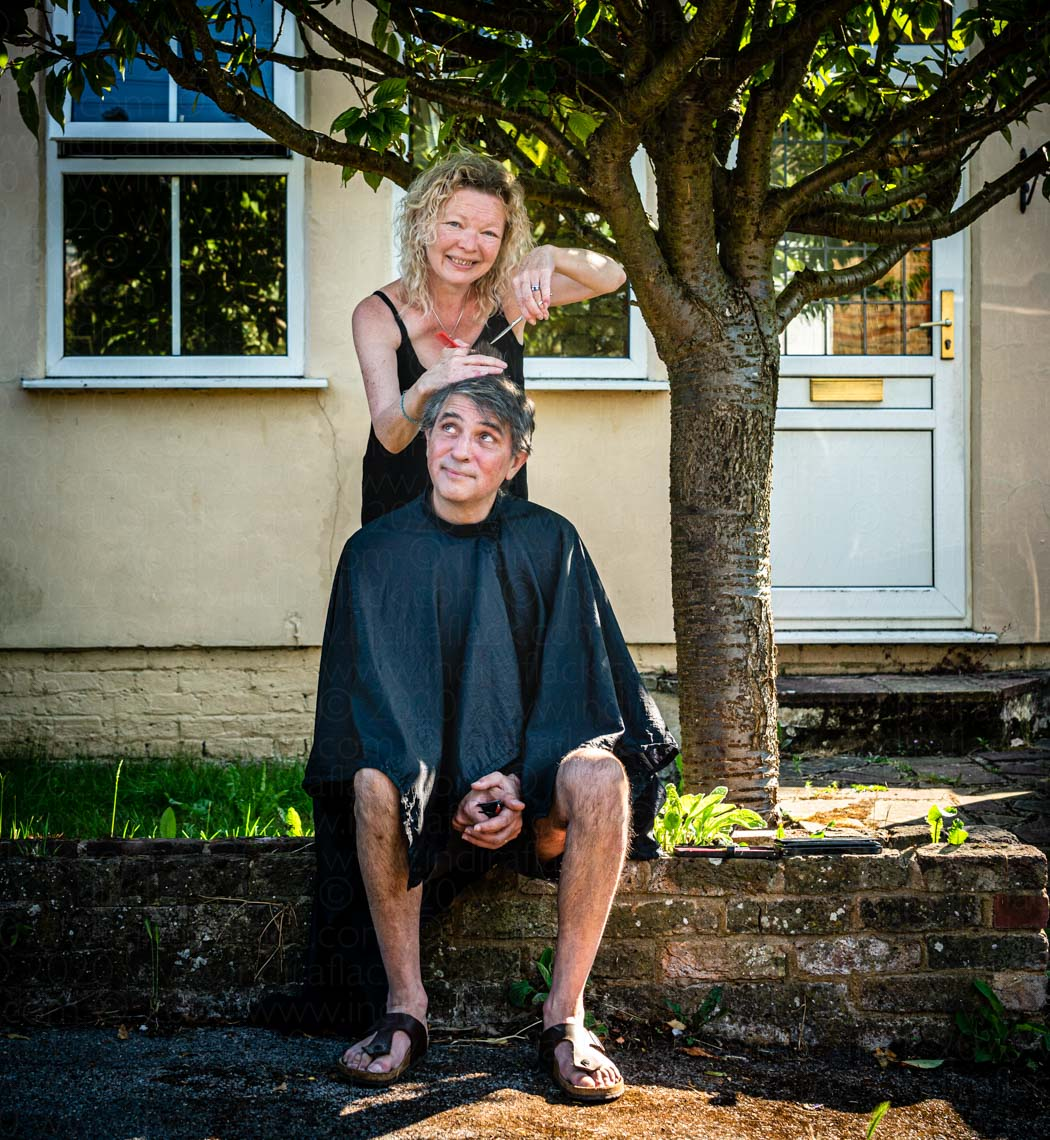 Steve & hairdresser Caron neighbours in lockdown portrait taken by Indira Flack portrait photographer