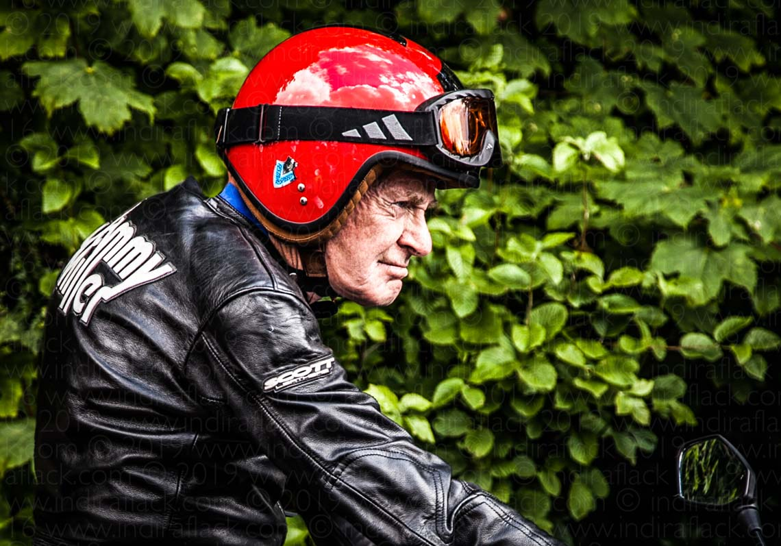 Sammy Miller MBE Championship winning motorcycle racer Goodwood Festival of Speed portrait taken by Indira Flack Photography