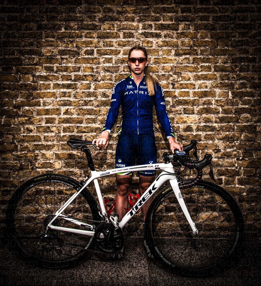 Laura Kenny portrait by Indira Flack for Matrix Pro Cycling